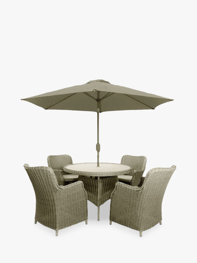 LG Outdoor LG Outdoor Toulon 4-Seat Round Garden Dining Table & Armchairs with Parasol, Brown