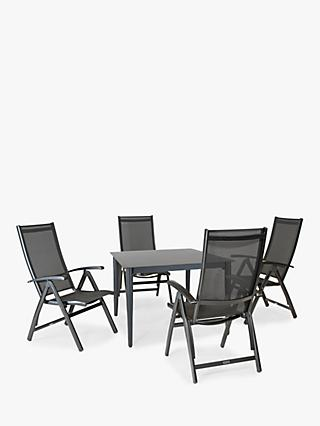 KETTLER Surf 4 Seat Garden Multi-Position Reclining Chairs and Dining Table Set, Grey