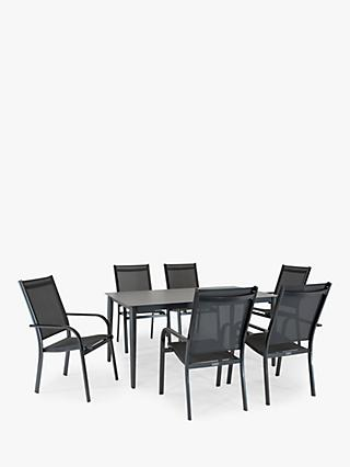 KETTLER Surf 6 Seat Garden Dining Table and Stacking Chairs Set, Grey