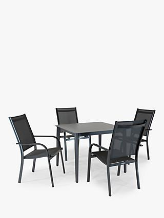 KETTLER Surf 4 Seat Garden Dining Table and Stacking Chairs Set, Grey
