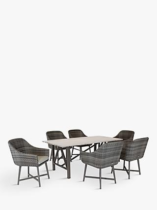 KETTLER LaMode 6 Seat Garden Dining Table and Chairs Set, Brown