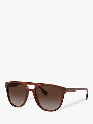 Burberry BE4302 Men's Square Sunglasses, Light Havana/Brown Gradient