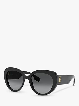 Burberry BE4298 Women's Polarised Cat's Eye Sunglasses, Black/Grey Gradient