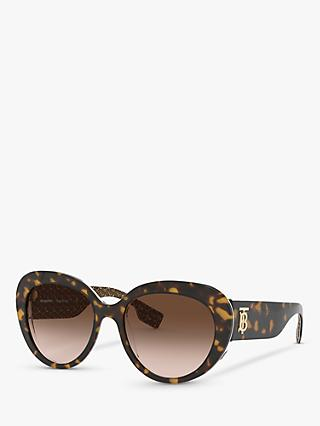 Burberry BE4298 Women's Cat's Eye Sunglasses, Dark Havana/Brown Gradient