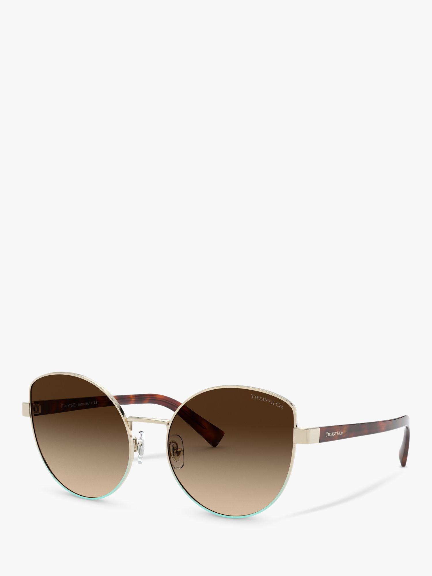 Tiffany & Co Tiffany & Co TF3068 Women's Irregular Sunglasses, Pale Gold/Brown Gradient
