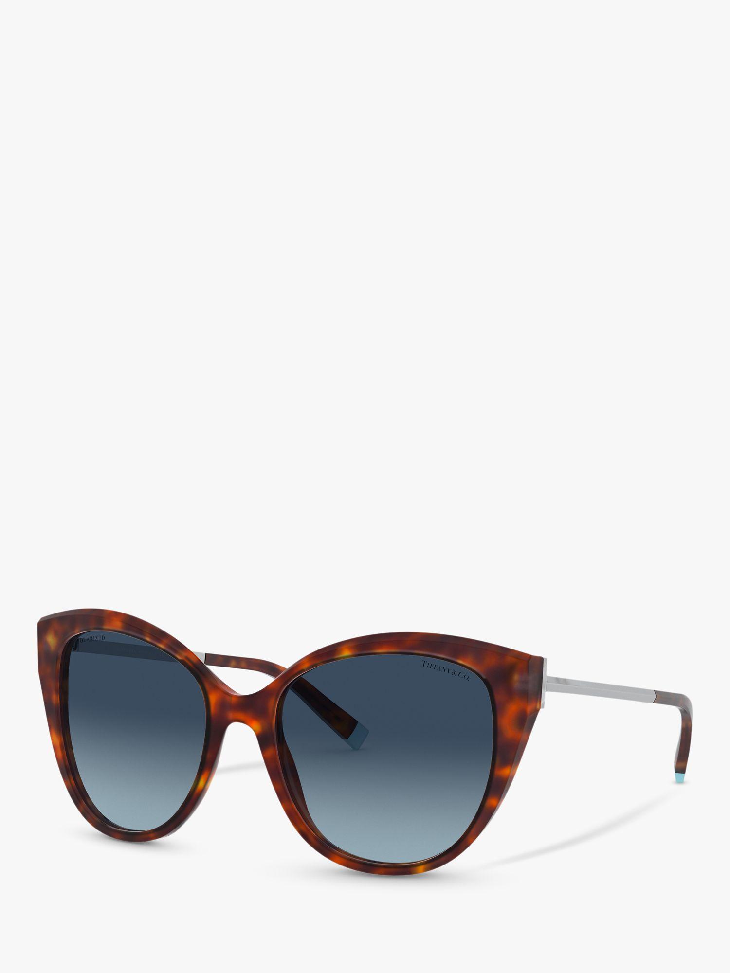 Tiffany & Co Tiffany & Co TF4166 Women's Polarised Cat's Eye Sunglasses, Havana/Blue Gradient