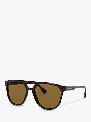 Burberry BE4302 Men's Polarised Square Sunglasses, Dark Havana/Brown
