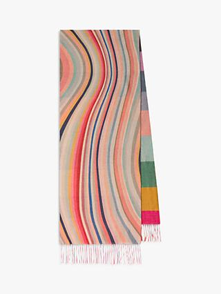 Paul Smith Wool and Cashmere Swirl Stripe Scarf, Multi
