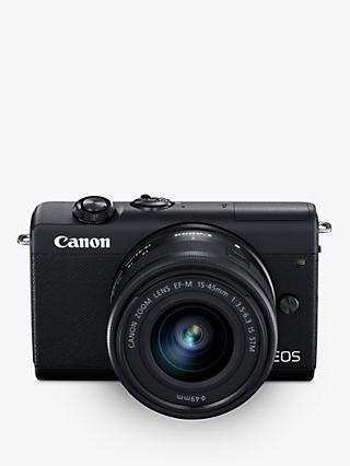 "Canon EOS M200 Compact System Camera with EF-M 15-45mm f/3.5-6.3 IS STM lens, 4K UHD, 24.1MP, Wi-Fi, Bluetooth, 3"" Tiltable Touch Screen"