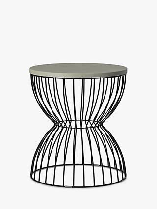 John Lewis & Partners Round Concrete Hourglass Garden Side Table, Grey