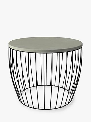 John Lewis & Partners Round Concrete Drum Garden Side Table, Grey