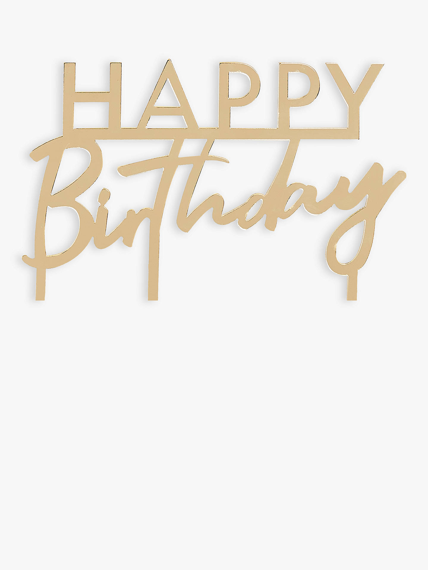 Marvelous Ginger Ray Gold Happy Birthday Cake Topper At John Lewis Partners Funny Birthday Cards Online Inifofree Goldxyz