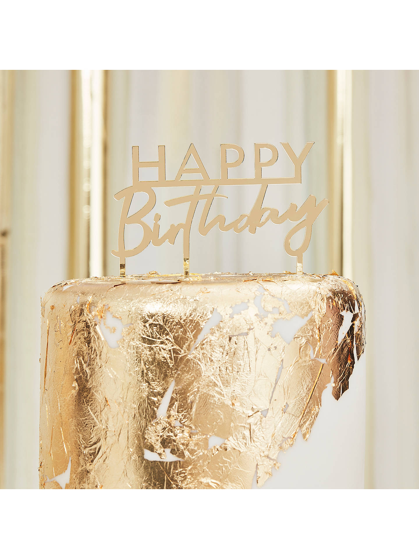 Swell Ginger Ray Gold Happy Birthday Cake Topper At John Lewis Partners Funny Birthday Cards Online Alyptdamsfinfo