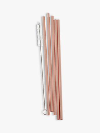 Ginger Ray Rose Gold Stainless Steel Straws, Pack of 5