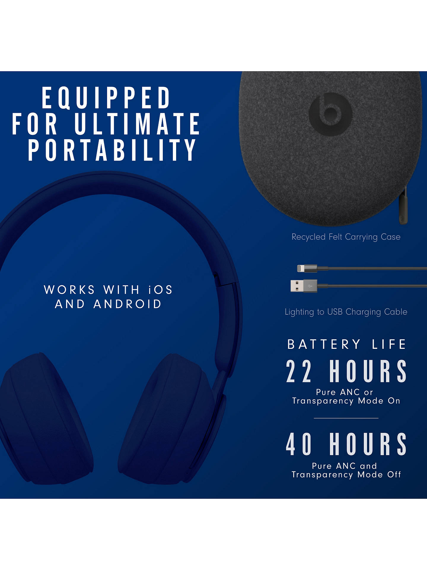 Buy Beats Solo Pro Wireless Bluetooth On-Ear Headphones with Active Noise Cancelling & Mic/Remote, Dark Blue Online at johnlewis.com
