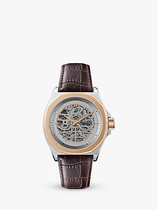 Ingersoll I09301 Men's The Orvile Automatic Skeleton Leather Strap Watch, Brown/Silver