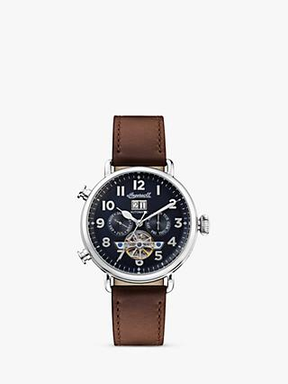 Ingersoll I09503 Men's The Muse Automatic Chronograph Heartbeat Leather Strap Watch, Brown/Navy