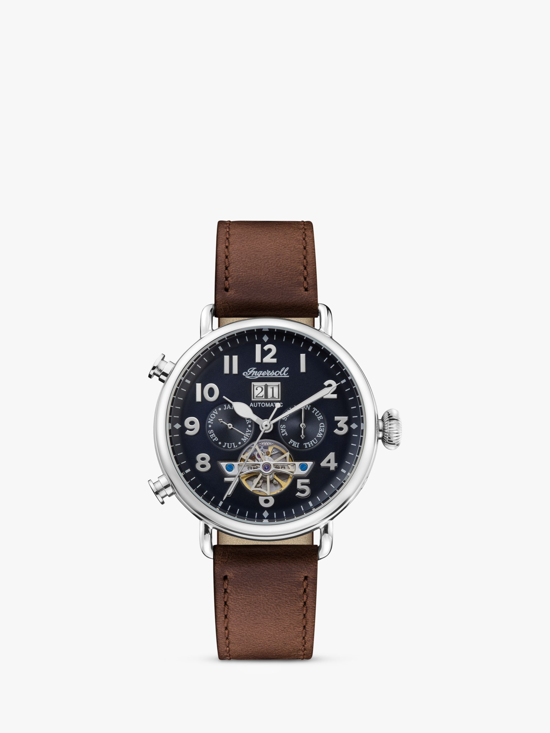 Ingersoll Ingersoll I09503 Men's The Muse Automatic Chronograph Heartbeat Leather Strap Watch, Brown/Navy