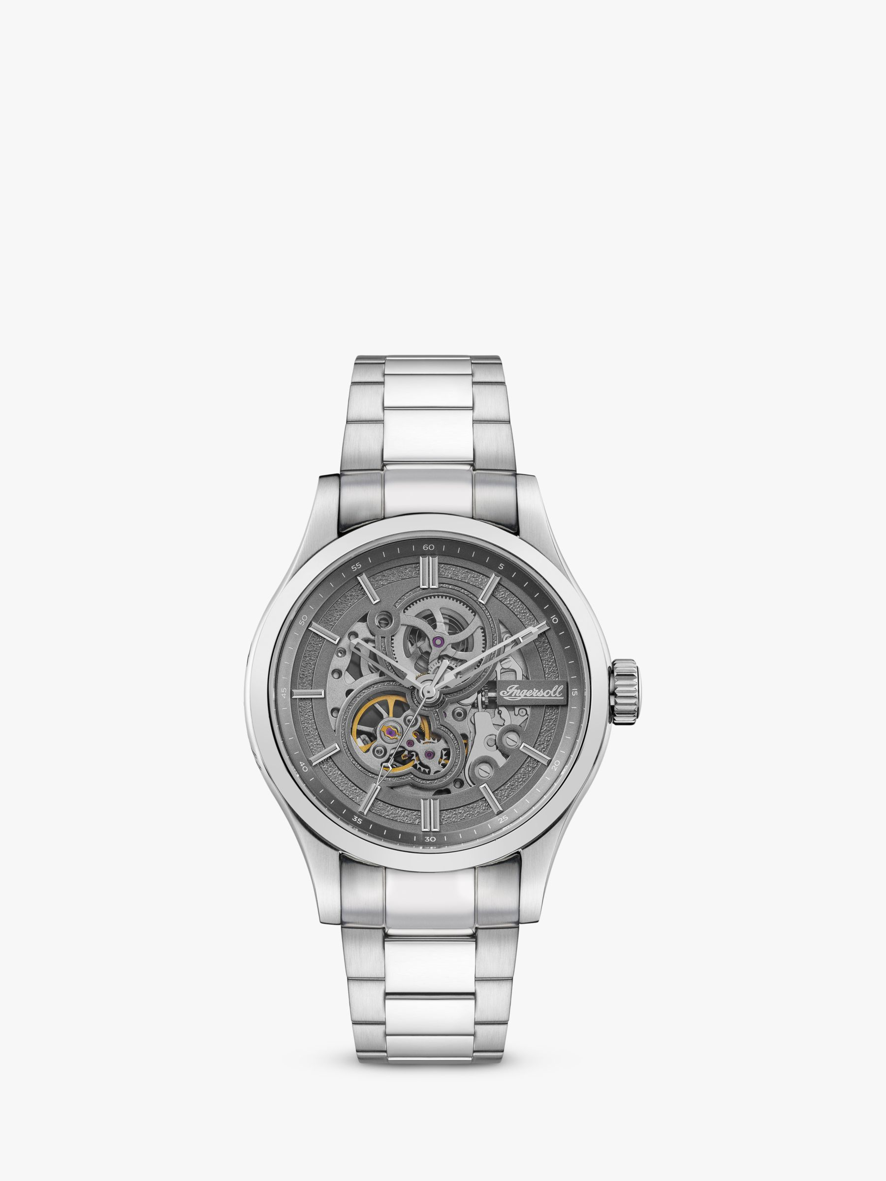 Ingersoll Ingersoll I06804 Men's The Armstrong Automatic Chronograph Day Date Bracelet Strap Watch, Silver