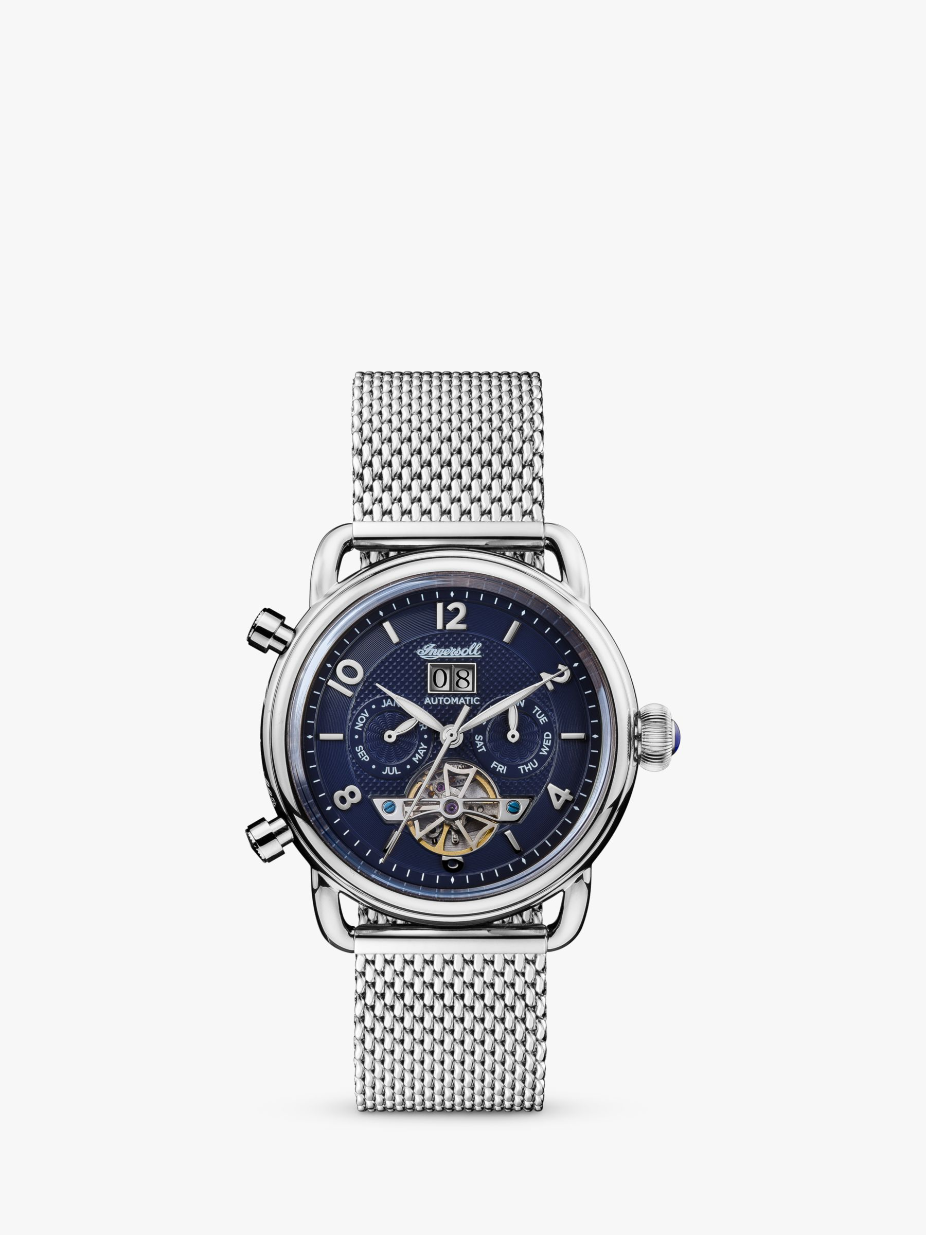 Ingersoll Ingersoll I00905 Men's The New England Automatic Chronograph Date Heartbeat Mesh Bracelet Strap Watch, Silver/Blue