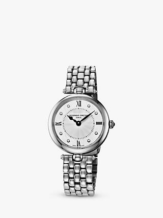 Frederique Constant FC-200MPWD2R6B Women's Diamond Bracelet Strap Watch, Silver/White