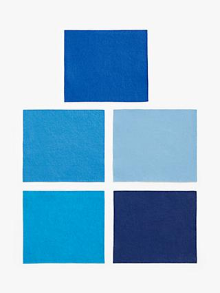 Habico Felt Fabric Square, Pack of 5, Blue