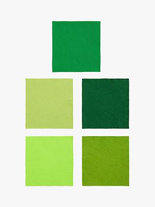 Habico Felt Fabric Square, Pack of 5, Green