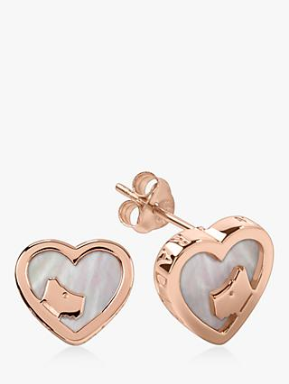 Radley Love Radley Heart Dog Mother Of Pearl Stud Earrings, Rose Gold