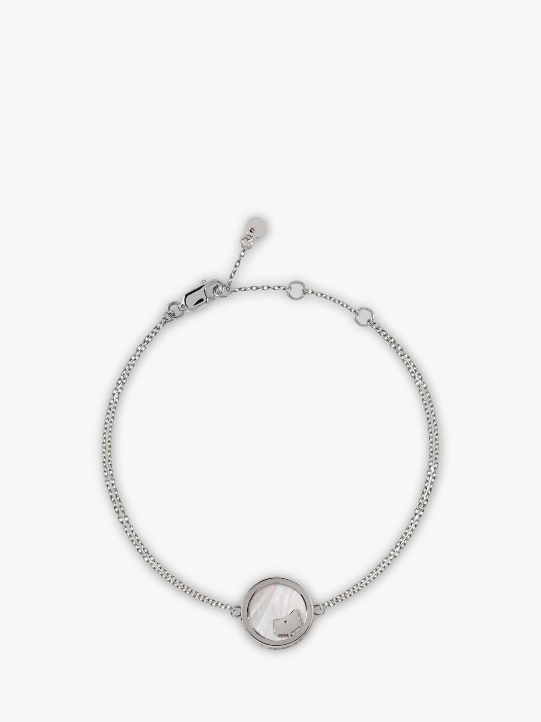Radley Radley Love Radley Dog Mother Of Pearl Double Chain Bracelet, Silver