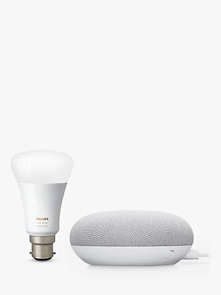 Google Nest Mini Hands-Free Smart Speaker, 2nd Gen, Chalk, with Philips Hue White LED Light Bulb, B22 Bayonet Cap