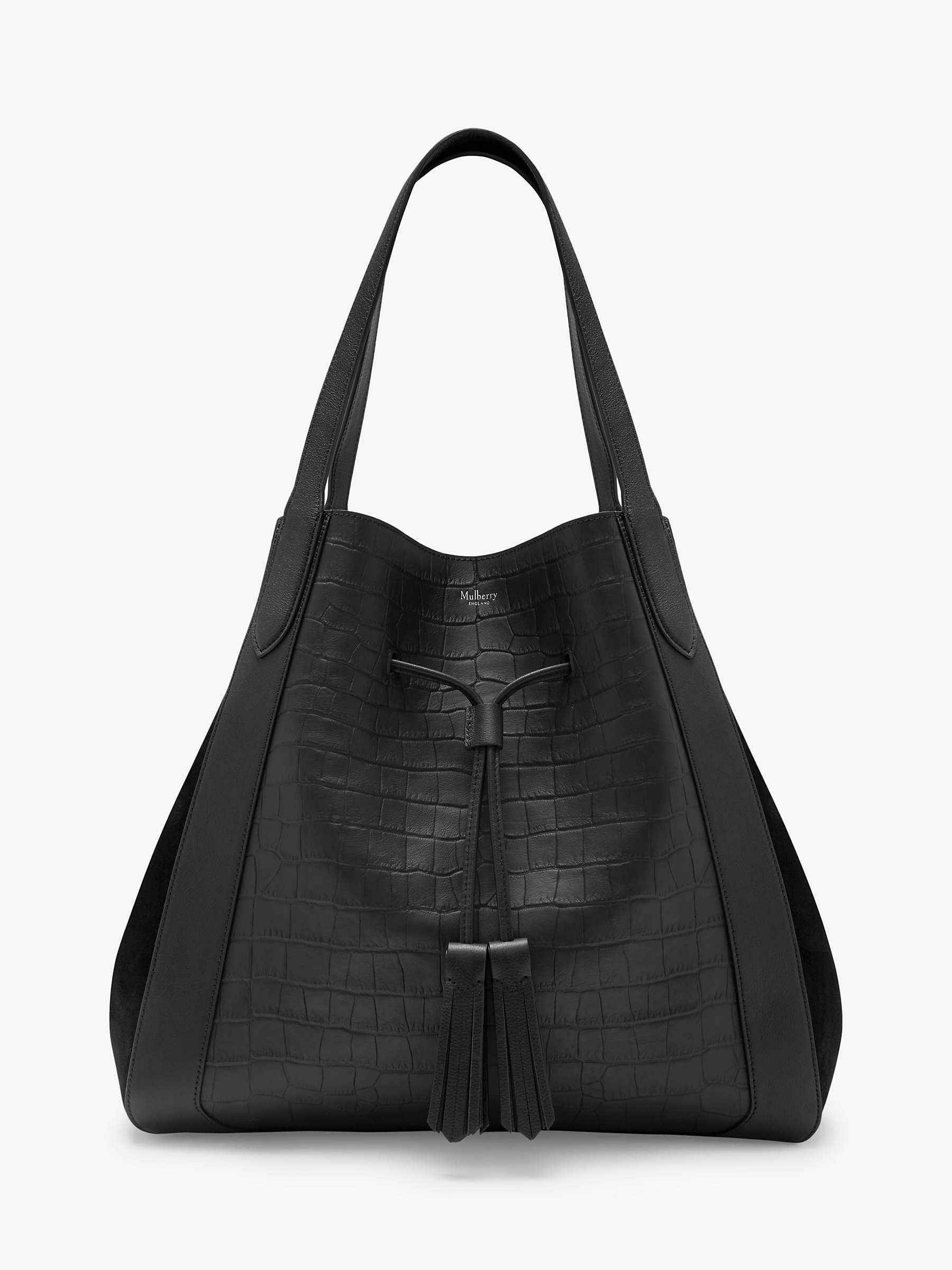 Mulberry Millie Croc Embossed Leather Tote Bag, Black by John Lewis