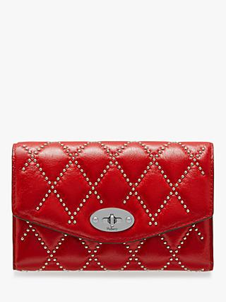 Mulberry Darley Quilted Shiny Buffalo Medium Wallet, Scarlet
