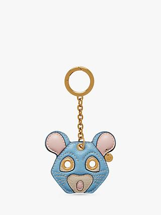 Mulberry Small Classic Grain Leather Rat Keyring, Pale Slate