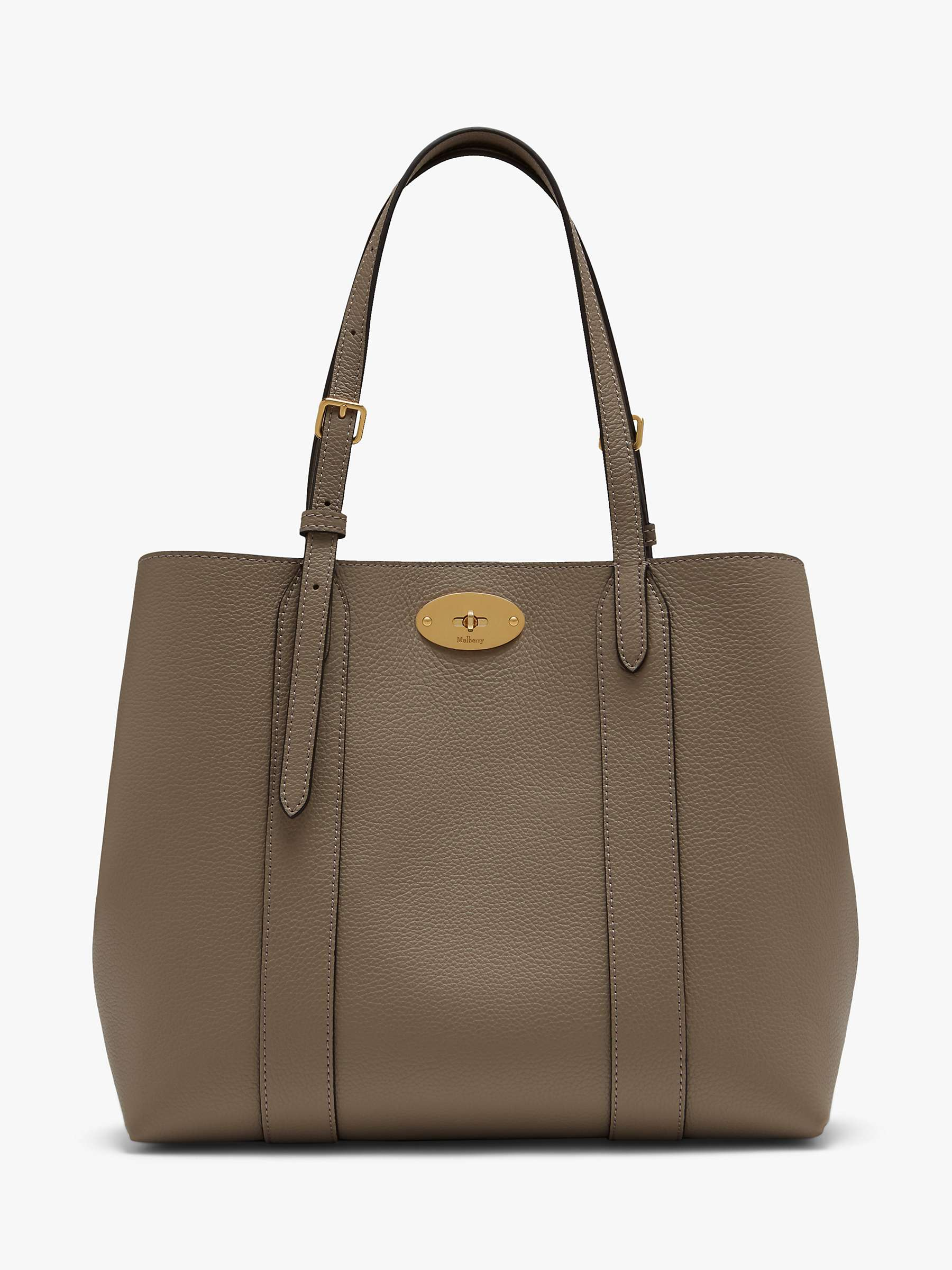 Mulberry Small Bayswater Classic Grain Leather Tote Bag, Solid Grey