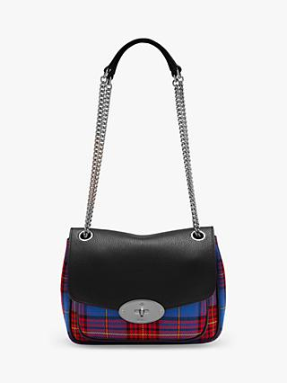 Mulberry Small Darley Tartan Check Shoulder Bag, Porcelain Blue