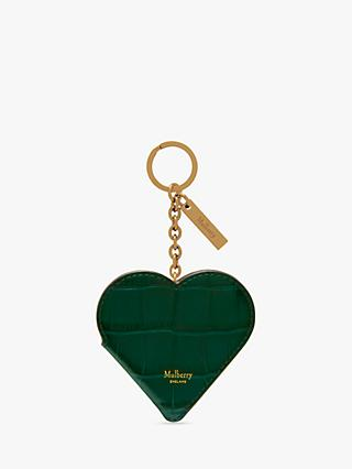 Mulberry Croc Print Leather Heart Portrait Keyring