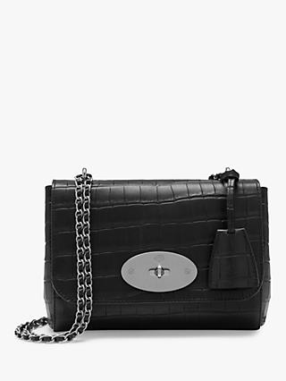 Mulberry Lily Matte Croc Embossed Leather Cross Body Bag