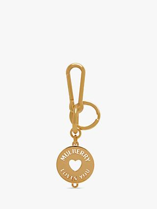 Mulberry Initial Love Charm Keyring, Brass