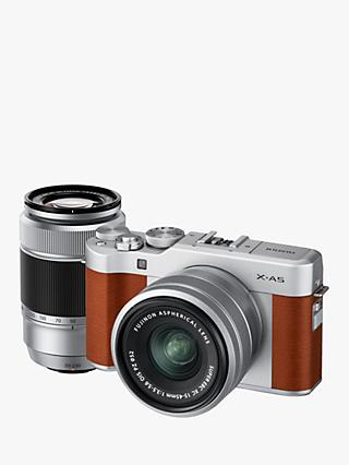 "Fujifilm X-A5 Compact System Camera with XC 15-45mm OIS Lens & XC 50-230mm OIS Lens, 4K Ultra HD, 24.2MP, Wi-Fi, Bluetooth, 3"" Tiltable LCD Touch Screen, Brown & Silver, Double Lens Kit"