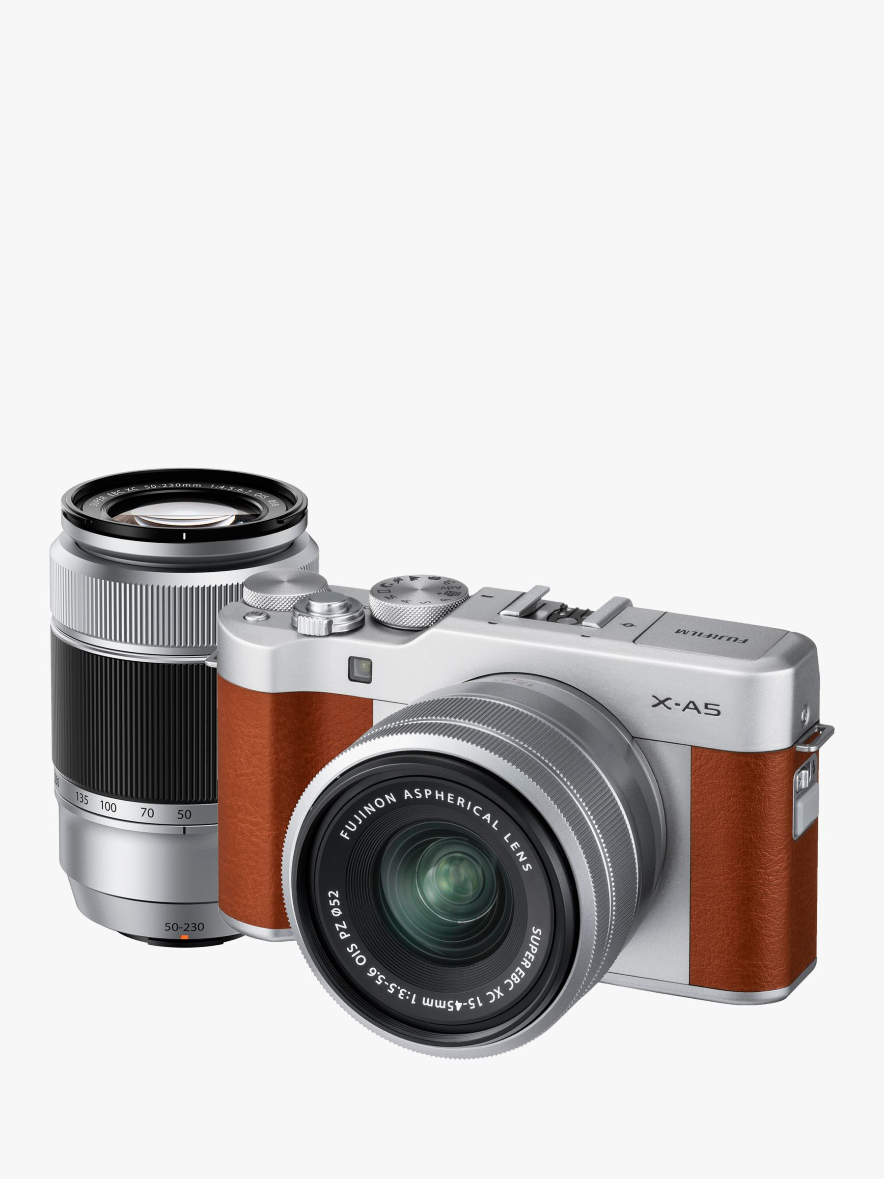 "Buy Fujifilm X-A5 Compact System Camera with XC 15-45mm OIS Lens & XC 50-230mm OIS Lens, 4K Ultra HD, 24.2MP, Wi-Fi, Bluetooth, 3"" Tiltable LCD Touch Screen, Brown & Silver, Double Lens Kit Online at johnlewis.com"