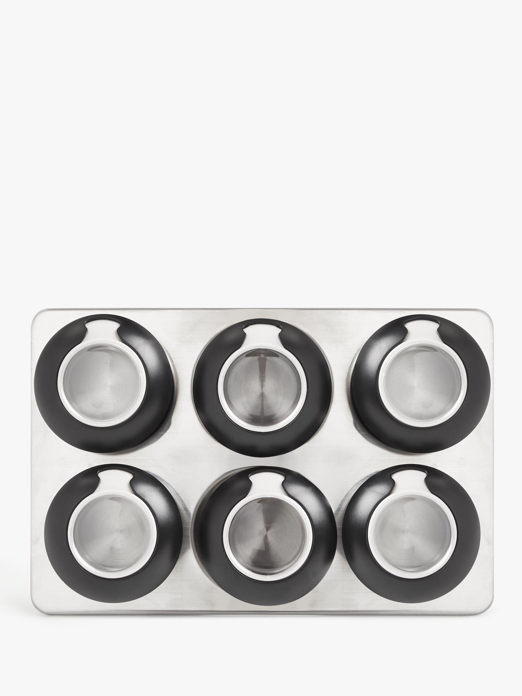 John Lewis & Partners Professional Stainless Steel Freestanding Magnetic Spice Rack, 6 Jars