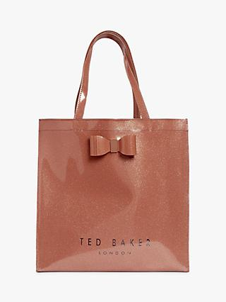 Ted Baker Sizzcon Glitter Bow Large Icon Shopper Bag, Rose Gold