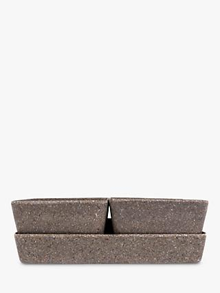 Husk Recyclable Square Tray & Planters, Set of 4, Coffee