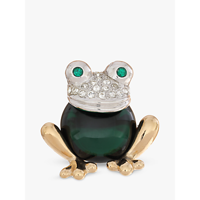 Eclectica Swarovski Crystal and Glass Frog Brooch, Multi
