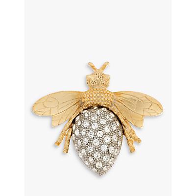 Eclectica Swarovski Crystal Bee Brooch, Gold/Silver