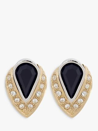 Eclectica Swarovski Crystal Teardrop Clip-On Earrings, Gold/Black