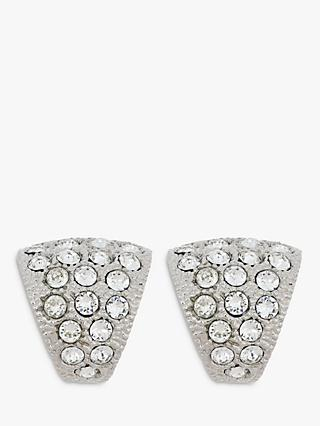 Eclectica Swarovski Crystal Curved Triangular Clip-On Earrings, Silver
