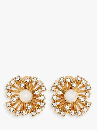Eclectica Swarovski Crystal and Faux Pearl Flower Clip-On Earrings, Gold