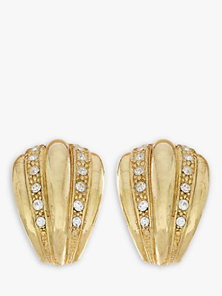 Eclectica Swarovski Crystal Half Hoop Clip-On Earrings, Gold