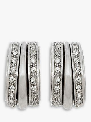 Eclectica Swarovski Crystal Hoop Clip-On Earrings, Silver